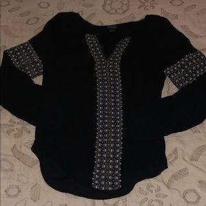 NWOT Lucky Brand Black& Detail Blouse